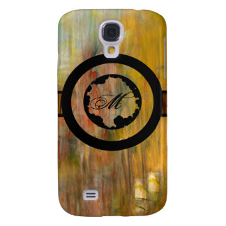 Abstract wood and paint texture monogram galaxy s4 case