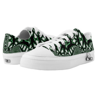 Abstract Zipz Low Top Shoes, Black/green fractal