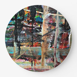 Abstraction Art Multi Colored Background Large Clock