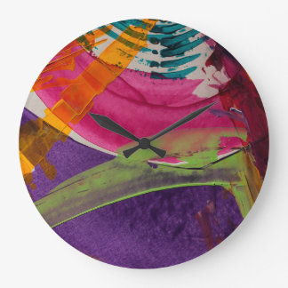 Abstractly Multi Color Art Large Clock