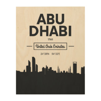 Abu Dhabi | Black and White City Coordinates Wood Print