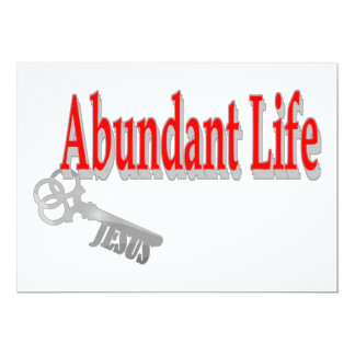 Abundant Life: The Key - v1 (John 10:10) 13 Cm X 18 Cm Invitation Card