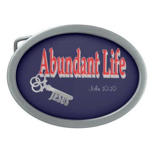 Abundant Life: The Key - v1 (John 10:10) Belt Buckles