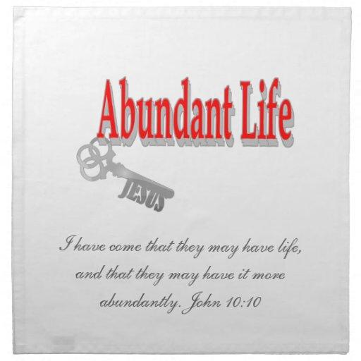 Abundant Life: The Key - v1 (John 10:10) Cloth Napkins