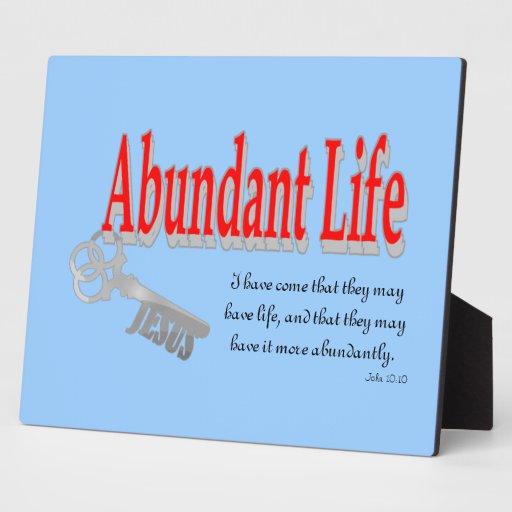 Abundant Life: The Key - v1 (John 10:10) Plaque