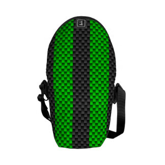 Accent Green Carbon Fiber Style Racing Stripes Messenger Bag