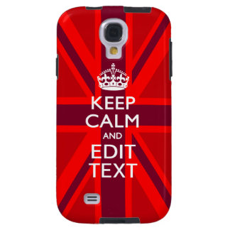 Accent Red Keep Calm Your Text on Union Jack Flag Galaxy S4 Case