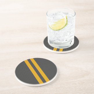 Accent Yellow Racing Stripes Carbon Fiber Style Coaster