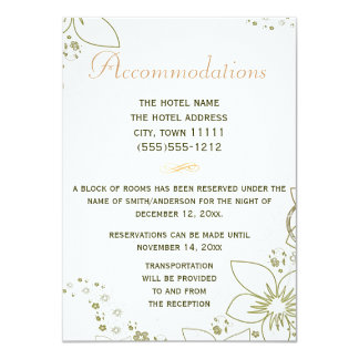 Accommodations Card Green and Gold Simple Wedding