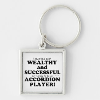 Accordion Wealthy & Successful Silver-Colored Square Key Ring