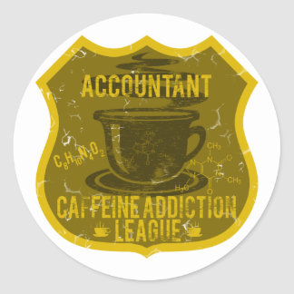 Accountant Caffeine Addiction League Classic Round Sticker