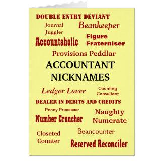 ACCOUNTANT NICKNAMES Good Luck Greeting Card