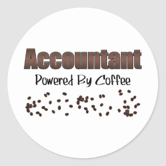 Accountant Powered By Coffee Classic Round Sticker