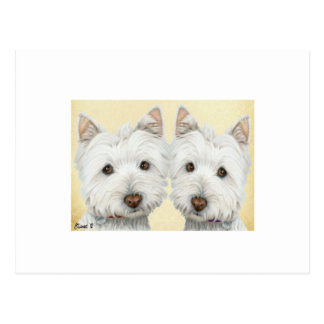 ACEO Print Cute Westie Dogs Post Card