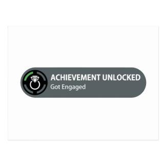 Achievement Unlocked - Got Engaged Postcard