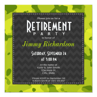 Acid Green Camo; Retirement Party Invite