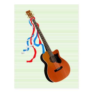 Acoustic Bass Guitar American Music Postcard