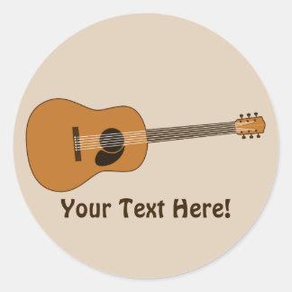 Acoustic Guitar Classic Round Sticker