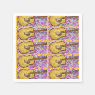acoustic guitar with yellow patina Art Disposable Serviettes