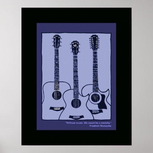 acoustic guitars decor poster