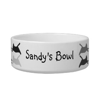 Acrobat Cats Black and Gray, Personalized Pet Dish Cat Water Bowl