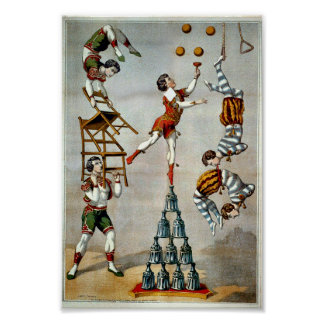 Acrobatic Act Vintage Circus Poster