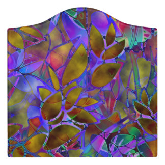 Acrylic Room Sign Floral Abstract Stained Glass Door Sign