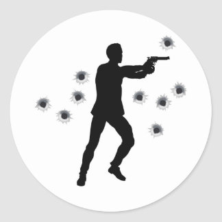 Action hero in gun fight silhouette stickers