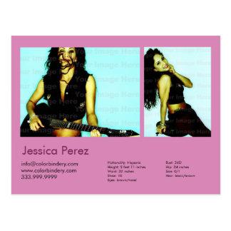 Actor & Model 2 Shot Pink Headshot Comp Postcard