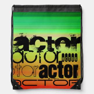 Actor; Vibrant Green, Orange, & Yellow Drawstring Bag