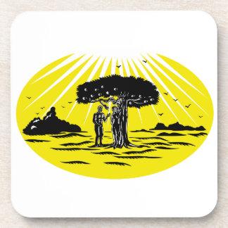 Adam and Eve Serpent Tree Woodcut Coaster