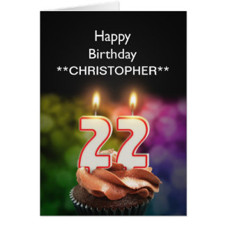 Add a name to this 22nd birthday card candles