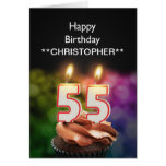 Add a name to this 55th birthday card candles