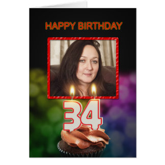 Add a picture, 34th Birthday with cake and candles Card