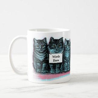 Add Cat Name Or Words To Cute Vintage Kittens Mug