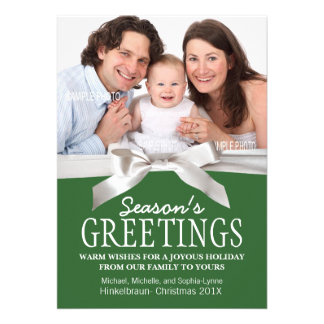 Add Family Photo Green Season s Greetings Personalized Invitation