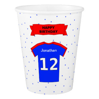 Add name 12th birthday sports party paper cup