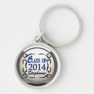 Add Name Class Of 2014 In Blue Graduation Keychain