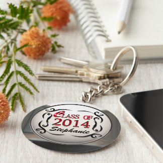 Add Name Class Of 2014 In Red Graduation Keychain