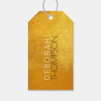 add name to a chic faux gold gift tags
