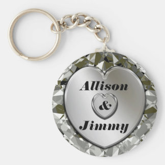 Add Names Elegant Silver Heart & Diamonds Keychain