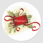 Add Text? Holly & Ribbon Christmas Stickers/Seals Round Sticker