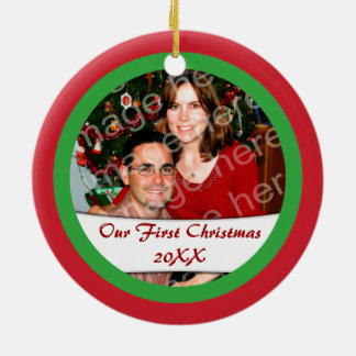Add Two Photos Our First Christmas Or... Ornament