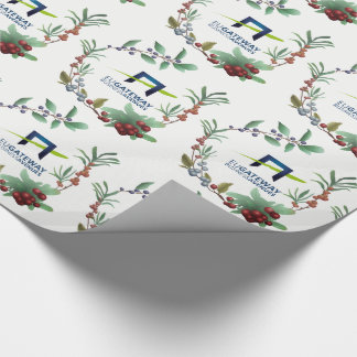 Add Your Business Logo Wreaths Holiday Wrapping Paper
