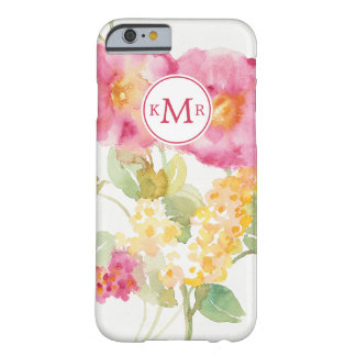 Add Your Monogram | White Daisy on Blue Barely There iPhone 6 Case