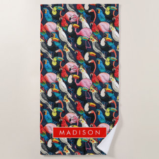 Add Your Name   Exotic birds Beach Towel