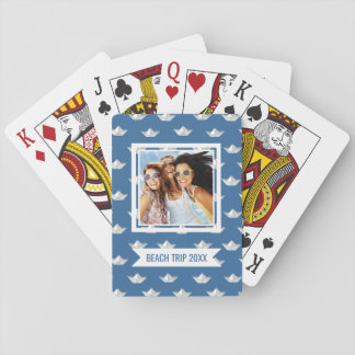 Add Your Name | Origami Boats On The Water Pattern Playing Cards