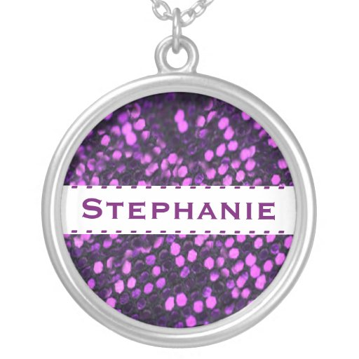 Add Your Name Purple Faux Sequin Necklace