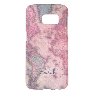 Add your name - Vintage pink map Galaxy s7 case