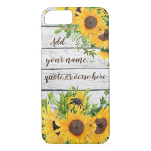 Add Your Own Quote, Name, Verse Rustic Sunflowers Case-Mate iPhone Case